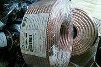 Кабель RG-6/TR, (1,02CCS+CCA-foil+64x0,12), диаметр 6,8мм,цвет прозрачный,длина 100м