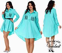 Расклешенное платье рубашка  (48-54) разные цвета