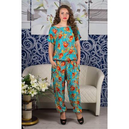 7774685f1725686 Женский летний костюм больших размеров Штапель (голубой): купить в ...