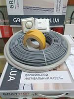 Теплый пол электрический GrayHot 5м.кв (двухжильный нагревательный кабель 51м в клей под плитку)