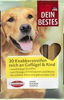 Закуска для собак птица и говядина Dein Bestes Snack für Hunde, Knabberstreifen, reich an, 200 g