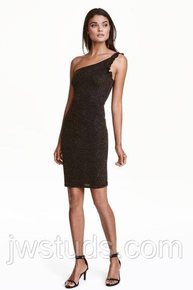Вечернее платье на одно плечо черное золото р.S H&M (Hennes & Mauritz)