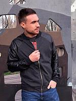 Мужская бейсбольная куртка с рукавами из кожзама