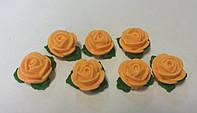 Набор Розы  d25 с листочками персиковые  (7шт) (код 03014)