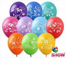 """Воздушные шары """"Мультяшки группа-6"""" Смешарики 12""""(30 см) пастель ассорти В упак: 100шт ТМ Арт «SHOW»"""