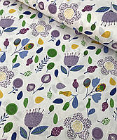 Хлопковая ткань польская цветы сиренево-зеленые