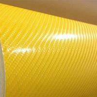 Карбоновая пленка 4D желтая под лаком с микроканалами