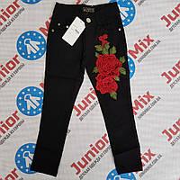 Котоновые брюки с вышитыми  розами на девучку HAPPY STAR