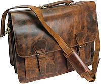Мужской кожаный портфель Paul Rossi 38567 коричневый