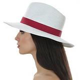 Шляпа мужская белая с синей лентой 56-58, фото 4