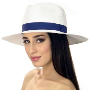 Шляпа мужская белая с синей лентой 56-58