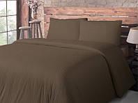 Постельное белье для гостиниц Lotus сатин страйп 1х1 коричневое полуторного размера (Турция)