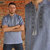 Вышиванка льняная мужская с коротким рукавом