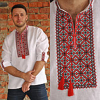 Вышиванка льняная мужская с длинным рукавом