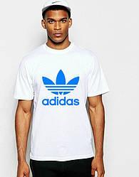 Мужская футболка Adidas, мужская футболка Адидас, спортивная, брендовая, хлопок, белая, размеры все