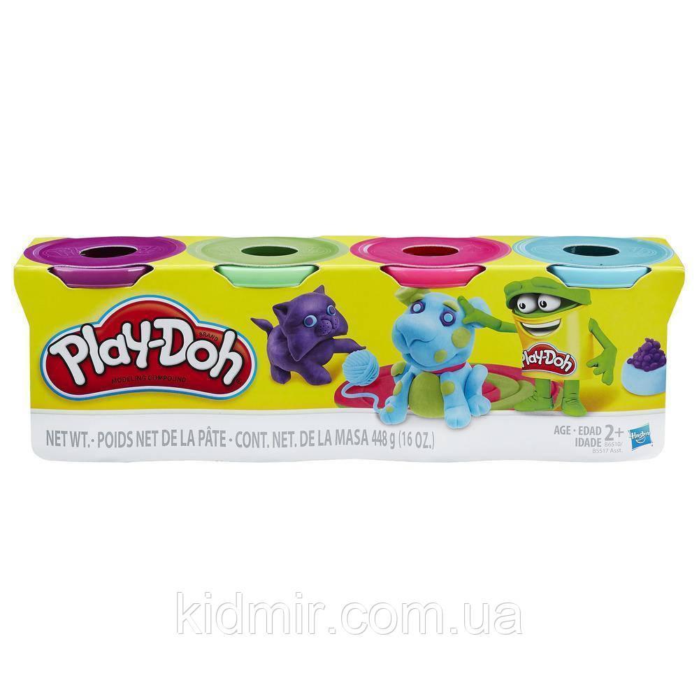Плей-До набор пластилина из 4 банок по 112 гр. Фиолетовый, розовый, салатовый, голубой Play-Doh Bright Colors