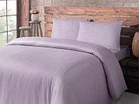 Постельное белье для гостиниц Lotus сатин страйп 1х1 лиловое семейного размера (Турция)
