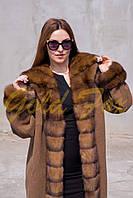 Пальто с мехом соболя + кашемир