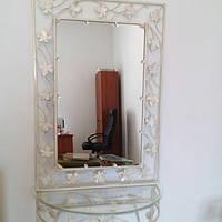 Кованое зеркало белое  большое