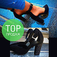 Женские туфли, на низком каблуке 10 см, натуральный замш / черные туфли женские модные, низкие, каблук блеск