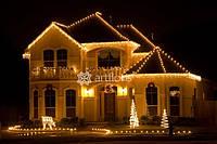 Украшение фасадов, новогоднее оформление дома, коттеджа, подсветка зданий, праздничная иллюминация