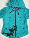 Модная детская ветровка Кошечка для девочек от 3 лет. Цвет бирюза Размер 28 в наличии, фото 2