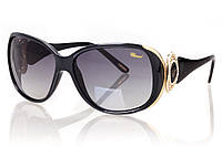 Женские солнцезащитные очки CHOPARD черны градиент, оправа глянцевый черный/золото/инкрустация камнями