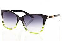 Женские солнцезащитные очки зеленый градиент, оправа глянцевый черный/зеленый