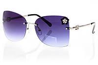 Женские солнцезащитные очки темно-серый градиент, оправа  глянцевый черный/серебро с инкрустацией камнями