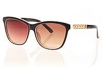 Женские солнцезащитные очки коричневый градиент, оправа  глянцевый коричневый/внутри молочная оправа/золото