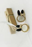 Серьги Зайки с черными ушками G500034-1