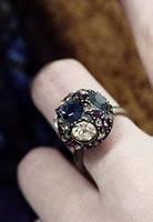 Кольцо Полусфера с камнями G500196
