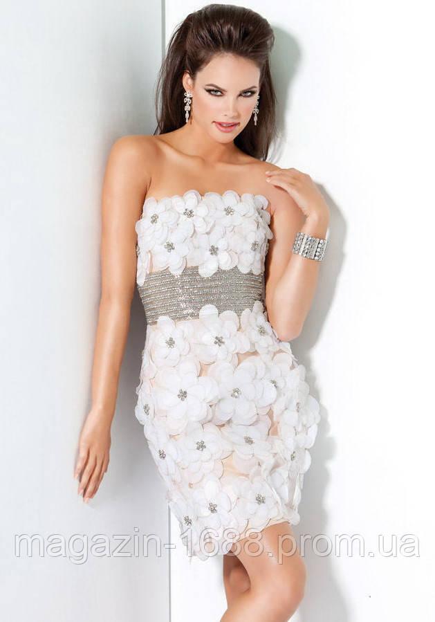 14c26d90e1c271d Женские платья Jovani и Sherri Hill. Платье Leaksa цвета ванили с декором  из цветов JV80039