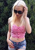 Короткий гипюровый топ бюстье Кроп Топ розового цвета 1131