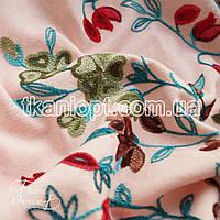 Ткань Лен вышивка купон (персиковый)