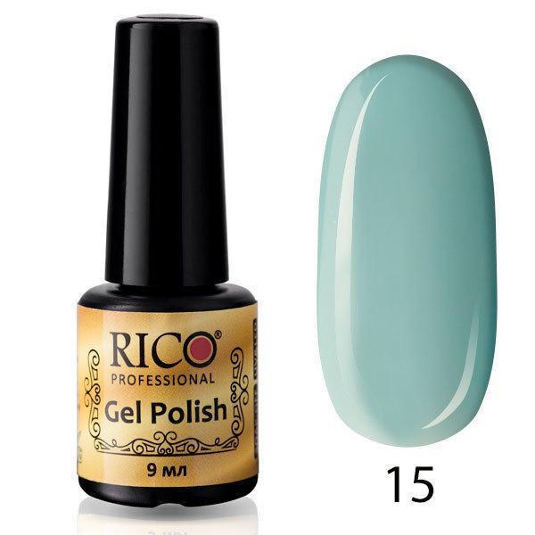 Гель-лак Rico Professional № 15, Светло-голубой, эмаль, 9 мл