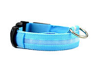 Светодиодный ошейник для собак Ширина: 2.5 см, длина: 40-48 см, диапазон регулировки: 8 см (размер М) Голубой