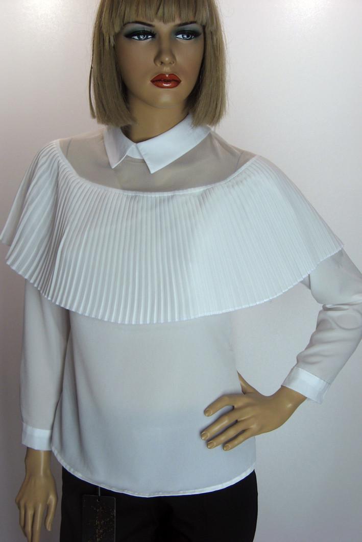 Біла шифонова блузка з пліссе Flamingo