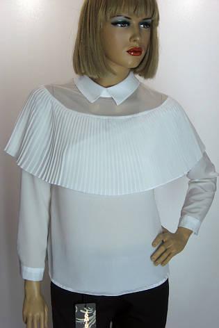 Біла шифонова блузка з пліссе Flamingo, фото 2