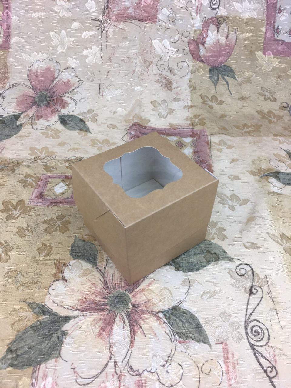Коробка для 1-ого кекса / 100х100х90 мм / Крафт / окно-обычн
