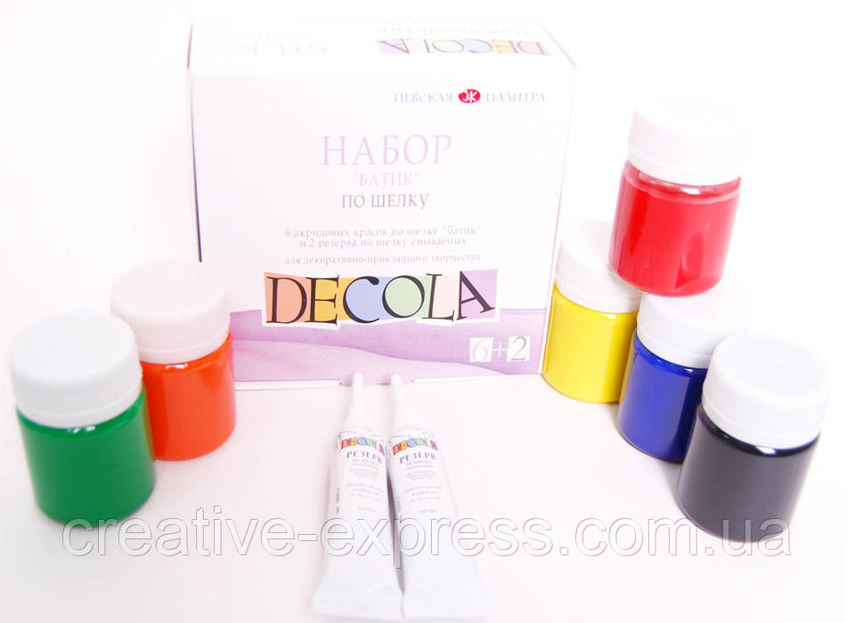 Набір акрилових фарб по шовку ''DECOLA'', 6кол.+2рез, 50мл