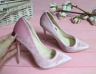 Туфли лодочки  розовые микробархат