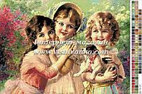 Схема для вышивания нитками - Дети с собачкой
