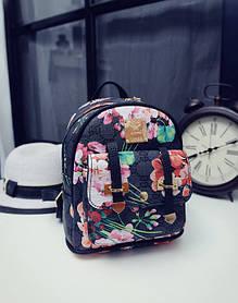 Городской мини рюкзак с цветочным принтом
