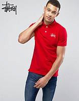 Молодежное Поло для мужчины футболка с принтом  Stussy Стасси красная тенниска