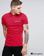 Качественная красная футболка-поло мужская с принтом  Champion Чемпион тенниска