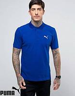 Поло для парня футболка синяя с принтом Puma Пума тенниска