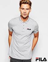 Серая классическая Футболка Поло для парня Fila Фила мужская с принтом