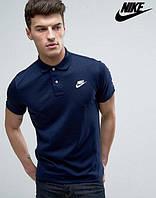 Молодежная Футболка Поло темно синяя с принтом Nike Найк тенниска