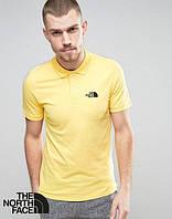 Стильная мужская футболка поло желтая с принтом The North Face тенниска Норс Фейс